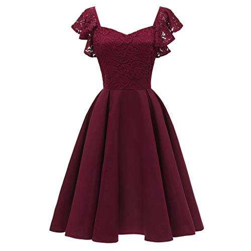 Dresses for Womens, FORUU Ladies Sales 2018 Winter Warm Under 10 Best Gift for Girlfriend Women Formal Lace Butterfly Sleeve Chiffon Prom Evening Party Bridesmsid ()