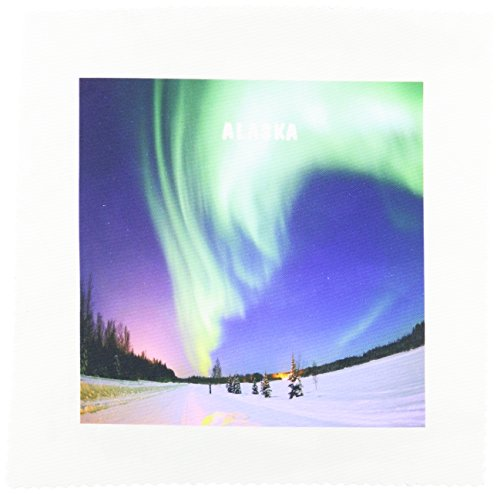 3dRose qs_101732_1 Incredible Northern Lights Over Alaska Quilt Square, 10 by - Northern Pillow Square