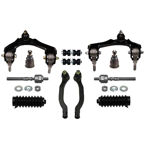 PartsW 12 Pc Front Suspension Kit for Honda Accord 90-93 / Rack & Pinion Bellow Boots, Tie Rod Linkages, Lower Ball Joint, Sway Bar End Links, Upper Control Arms & Ball Joints Assembly ()