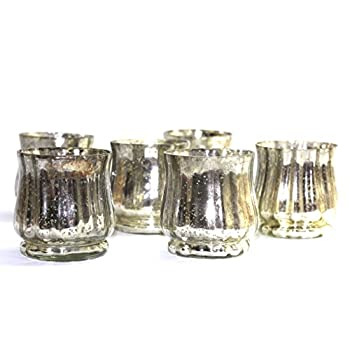 Vintage Mercury Glass hurricane votive - set of 6