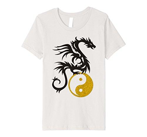 Kids Yin Yang Dragon Tattoo - gold black T-Shirt P 12 Silver ()