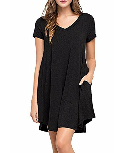 ZJFZML Tunic Tops For Leggings For Women, Female Boutique Stylish Vneck Scalloped Hem Dressy Shirts Short Sleeve Comfort Fitting Clothing Simple Plain Maternity Plus Size T Shirts Black XXL - Maternity Tunic Dress