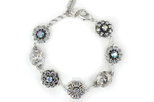 Clara Beau Dazzling SilverTone Shade Swarovski crystal Cluster Bracelet BF44 -