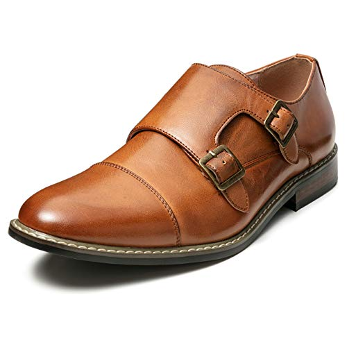 (Men's Classic Monk Dress Shoes Leather Lined Formal Oxford (10 M US, Tan7))
