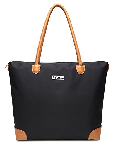 nnee-water-resistance-nylon-tote-bag-multiple-pocket-design-black-beige-lining