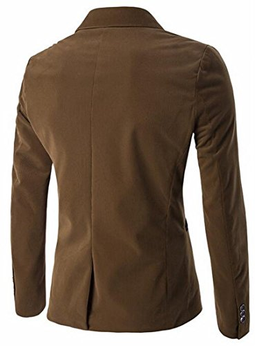 UK Corduroy Mens Khaki Sleeve Suit Long today Block Color Lapel Blazer dAwXAq
