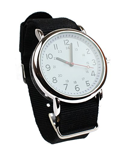 (Men's Military Style Wrist Watch White Face Black Nylon Strap Band)
