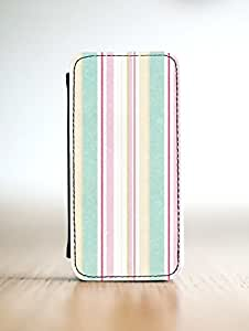 Unique Personalised Customised iPhone 4 4s Leather Case Striped Pastel Print