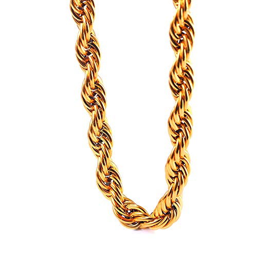 TUOKAY Direct 9mm Big Gold Rope Chain Necklace, Huge Sparkling 18K Gold Rope Necklace Chain, 24
