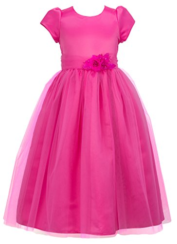 Wonder Girl Sally Big Girls' Satin Tulle Tea Length Long Dress 10 Fuchsia (Christmas Pageant Dresses)