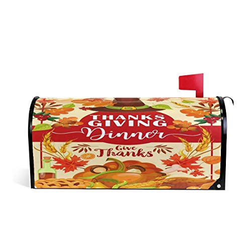 Mailboxcoverfhiw Thanksgiving Roasted Turkey Pumpkin and Apple Pie Magnetic Mailbox Cover Oversized Size 6.5