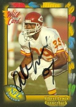 Kansas City Chiefs Wild Card - Autograph 120118 Kansas City Chiefs 1991 Wild Card No. 87 Albert Lewis Autographed Football Card