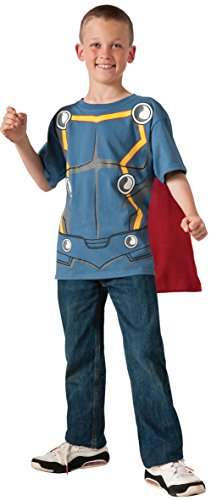 [Marvel Universe Avengers Assemble Thor Costume T-Shirt with Cape, Small] (Loki Costume)