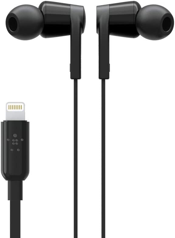 Belkin In-Ear Lightning Headphones w Mic Control iPhone Headphones for iPhone 11, 11 Pro, 11 Pro Max, XS, XS Max, XR, X, 8, 8 Plus, more iPhone Earphones, iPhone Earbuds, Black