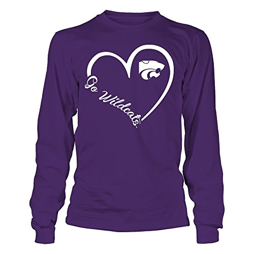 (FanPrint Kansas State Wildcats T-Shirt - Heart 3/4 - Longsleeve Tee/Purple/L)