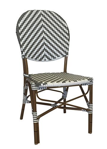 Table in a Bag CBCGGWW All-Weather Wicker French Café Bistro Chair with Aluminum Frame, Gray and White