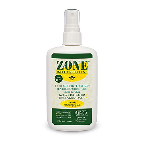 Zone Repellent Bug Spray | Flea, Tick, Mosquito Picaridin Insect Repellent Spray | DEET-Free Bug Repeller (4 oz Spray Bottle