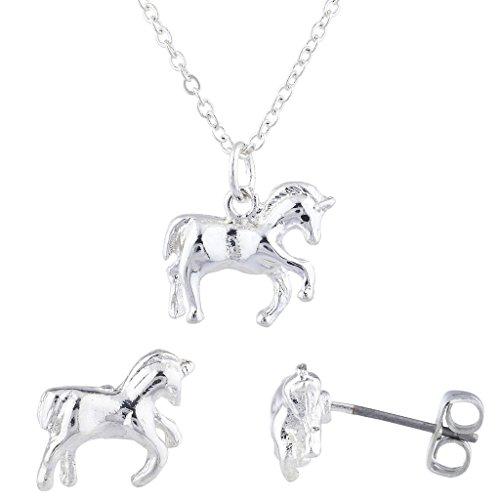 Lux Accessories Silver Tone MagicalUnicorn Pendant Necklace Stud Earring ()