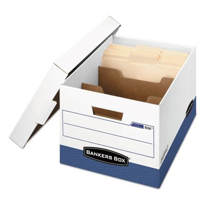 R-Kive Maximum Strength Storage Box,letter/legal, Locking Lid, White/blue, 12/ct