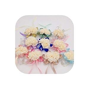 15 Pcs/Lots Fashion Artificial Brides Bridesmaid Wedding Bouquet Hand Flowers Wrist Corsages Multi Color Optional 113
