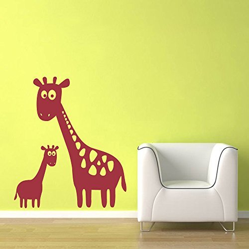 Wall Decal Decor Giraffe Wall Decal - Vinyl Mom and Baby Giraffe Wall Stickers - Oversized Large Giraffe Wall Decal - Jungle Safari Vinyl Wall Art(40