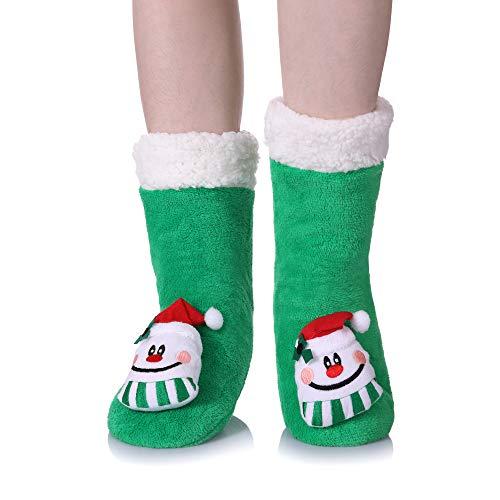 te Cartoon Animal fuzzy Cozy Non-Slip Winter Slipper Socks (Christmas style B) ()