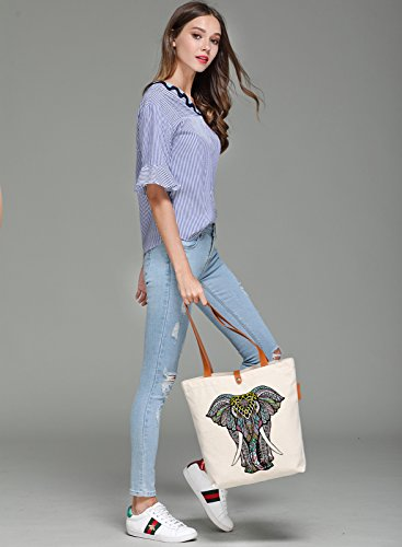 So'each Women's Animal Elephant Graphic Top Handle Canvas Tote Shoulder Bag