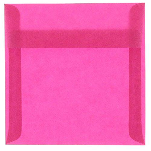 JAM PAPER 6 x 6 Square Translucent Vellum Invitation Envelopes - Magenta Pink - 50/Pack