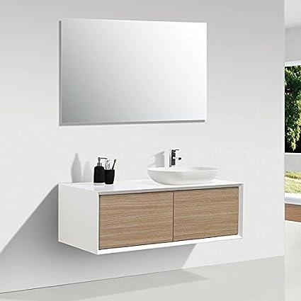 Mueble de baño MONTADO 120cm PALIO, blanco / roble claro: Amazon.es ...