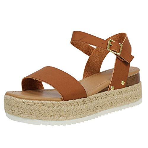 Women Platform Wedge Sandal Casual Open Toe Ankle Strap Buckle Up Espadrille Roman Shoes (US:7.5, Brown) -