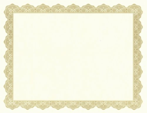 Parchment Paper Certificates, 8-1/2 x 11, Optima Gold Border, 25/Pack, Total 8 PK, Sold as 1 Carton ()