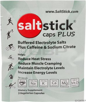 SaltStick Caps PLUS Electrolyte Replacement Capsules with Caffeine and Sodium Citrate 3 count packet from SaltStick