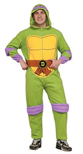 Ninja Turtle Onesie Costume (Adult size Donatello TMNT Hooded Fleece Jumpsuit - Pajama - Standard)