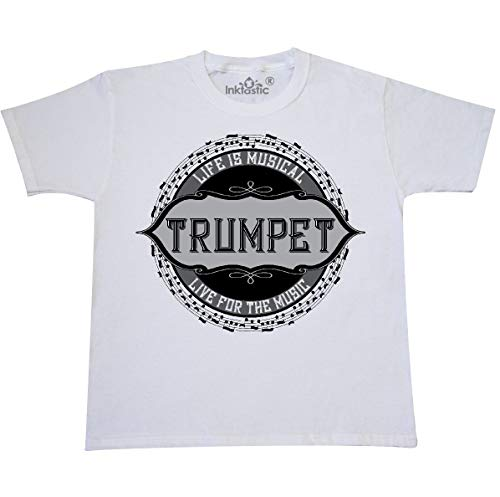 inktastic - Trumpet Music Note Youth T-Shirt Youth Large (14-16) White 2dcbc