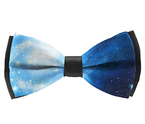 L Wright-King Classic Mens Blue Brilliant Galaxy Nebula Pre-Tied Bowtie Silk Bow Ties for Men Gifts