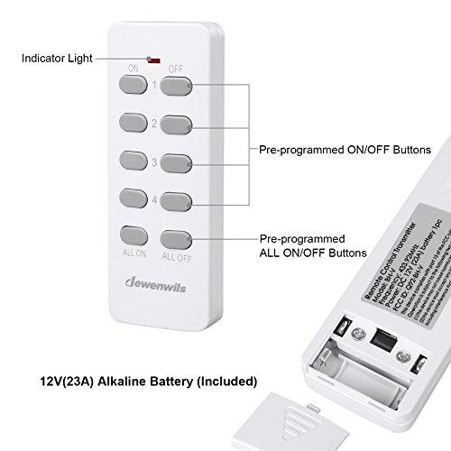 Dewenwils Remote Control Light Lamp Socket E26/E27 Bulb Base, Wireless Light Switch Kit, White (Programmable, 4 Sockets 2 Remotes, HRLSXXA Series) by DEWENWILS (Image #5)