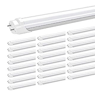 JESLED 4FT T8 LED Tube Light Bulbs, 24W 5000K Daylight, 3000LM, 4 Foot T12 LED Replacement for Flourescent Fixtures, Frosted, Double Ended Power, Bypass Ballast, Garage Warehouse Shop Lights (25-Pack)
