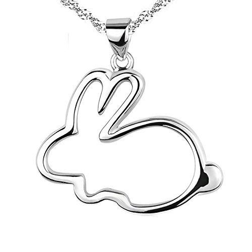 (Eove Women Sterling Silver Cute Small Bunny Pendants Necklaces Gifts For Women Girl+Height:0.85