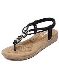 D2C Beauty Women's Summer Bohemian Rhinestone Gladiator Flat Thong Sandals