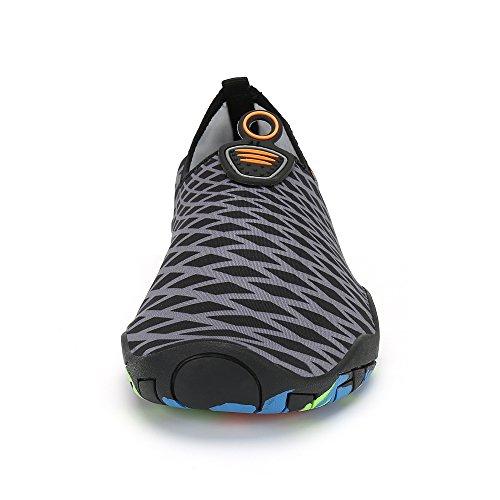 Saguaro Heren Dames Sneldrogend Water Schoenen Dikke Zool Huid Aqua Sokken Blootsvoets Voor Strand Yoga Oefening Grijs