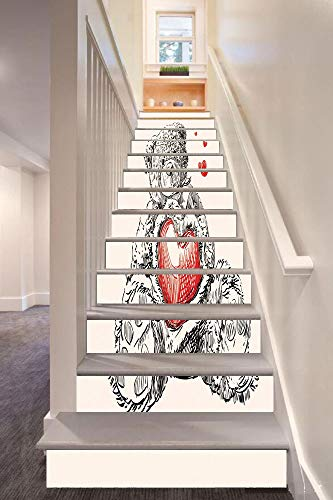 (Doodle 3D Stair Riser Stickers Removable Wall Murals Stickers,Detailed Teddy Bear Drawing with Heart Instead of a Belly Mini Floating Hearts Decorative,for Home Decor 39.3