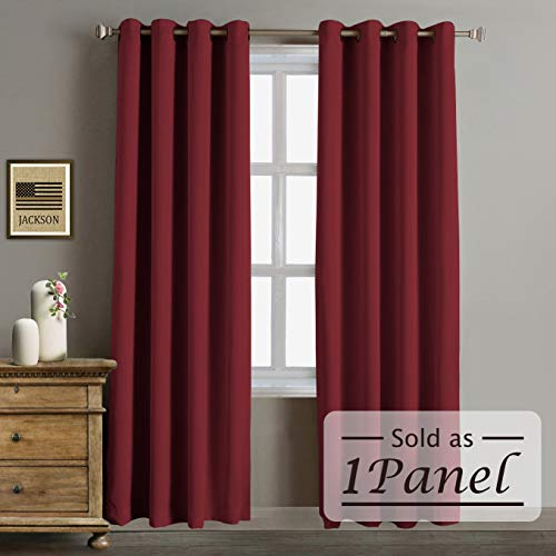 One Grommet - Rose Home Fashion RHF Blackout Thermal Insulated Curtain - Antique Bronze Grommet Top for Bedroom or Living Room, Grommet Curtain, Sold as 1 Panel,52W by 84L Inches-Burgundy