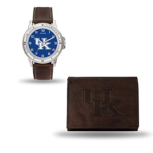 NCAA Kentucky Wildcats Men's Watch and Wallet Set, Brown, 7.5 x 4.25 x (Wildcats Mens Watch)