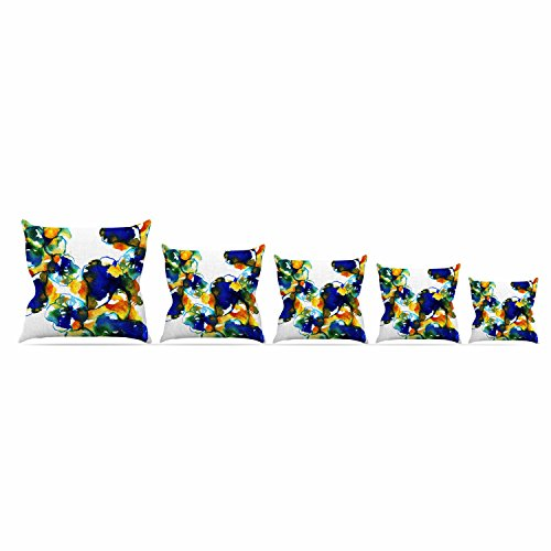 Over Woven Futon Chair Cover - Kess InHouse Sonal Nathwani Blue Orange Floral Abstract Watercolor Throw Pillow, 26 by 26