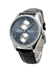 43mm Parnis Portuguese Power Reserve Automatic Watch Blue Face Sea-gull Mov't P042612