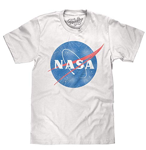Tee Luv Distressed NASA Shirt - Vintage NASA Meatball Logo T-Shirt (XX-Large) White