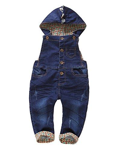 Kidscool Baby Denim Dark Blue Cardigan Overalls with Hat