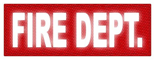 TACTICAL IDENTIFICATION PATCHES FIRE DEPT. ID Patch - 8.5x3 - Reflective Lettering - Red Backing - Hook Fabric