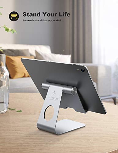 Tablet Stand Adjustable, Lamicall Phone Stand : Desktop Stand Holder Dock Compatible with Phone Xs Max XR, New iPad 2018 Pro 9.7, 10.5, Air Mini 2 3 4, Kindle, Accessories, Tab (4-13 inch) - Silver