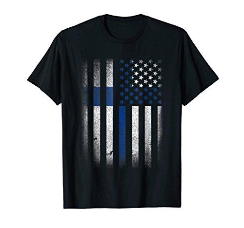 Mens Finnish American Flag T-shirt Finland Usa America 2XL Black